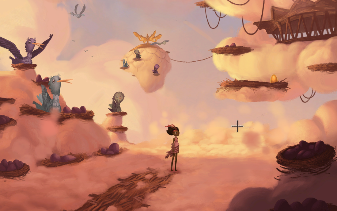 Broken Age built around context-based interactions, not a list of verbs