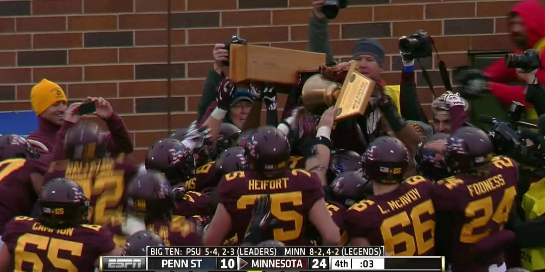 Minnesota breaks Governor's Victory Bell trophy after beating Penn State
