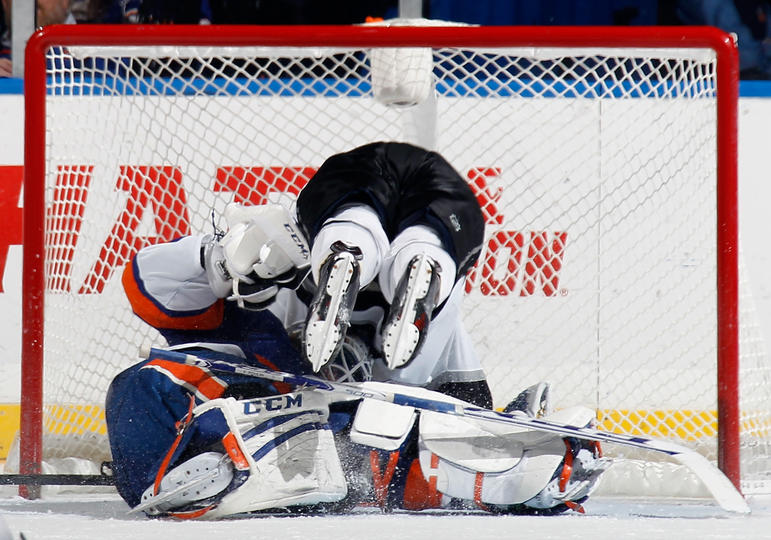 Kopitar diving in the Poulin