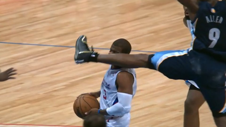 How does Tony Allen's face kick on Chris Paul compare to that of the master, Bruce Bowen?