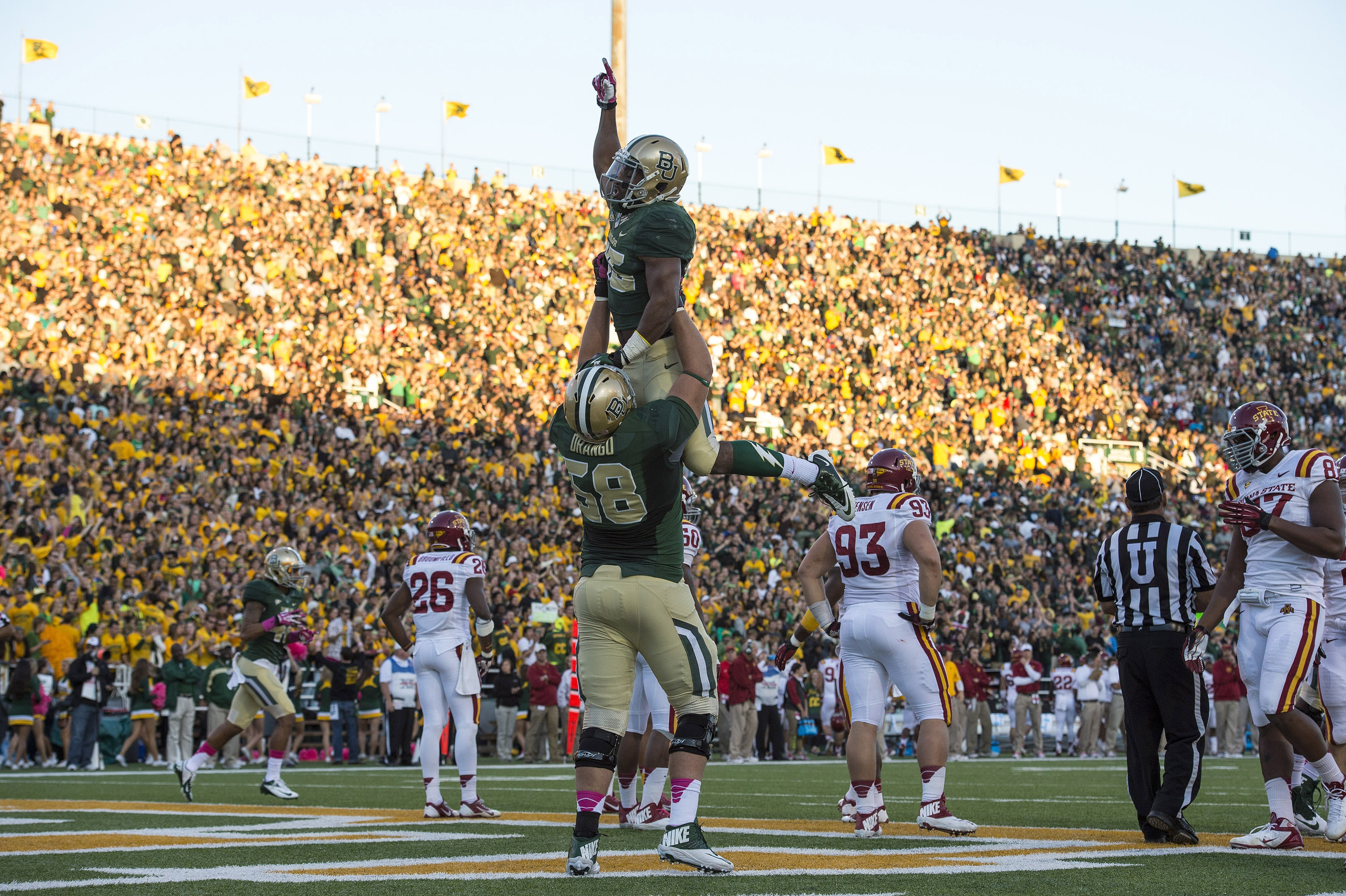 Nearly every picture I have of Drango is him lifting someone in the air after a touchdown.