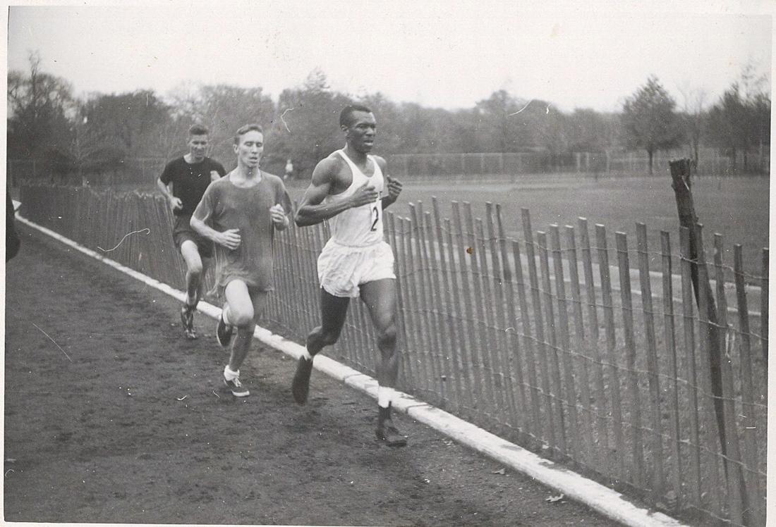 Ted Corbitt leads a 1957 race in New York City's Van Cortlandt Park.