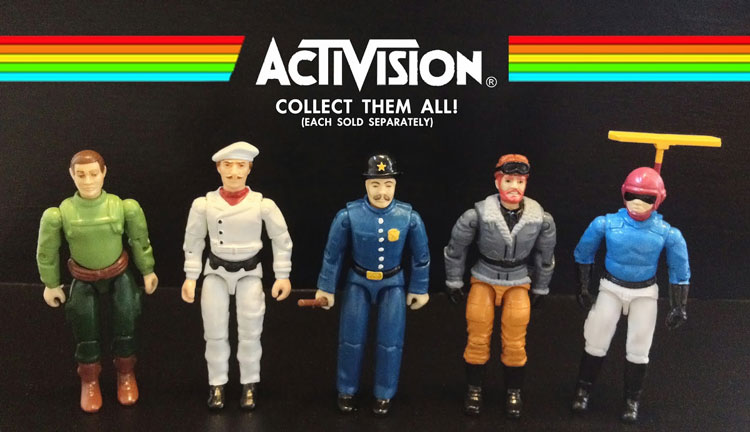 These Atarti 2600 action figures are made from cannibalized G.I. Joe parts