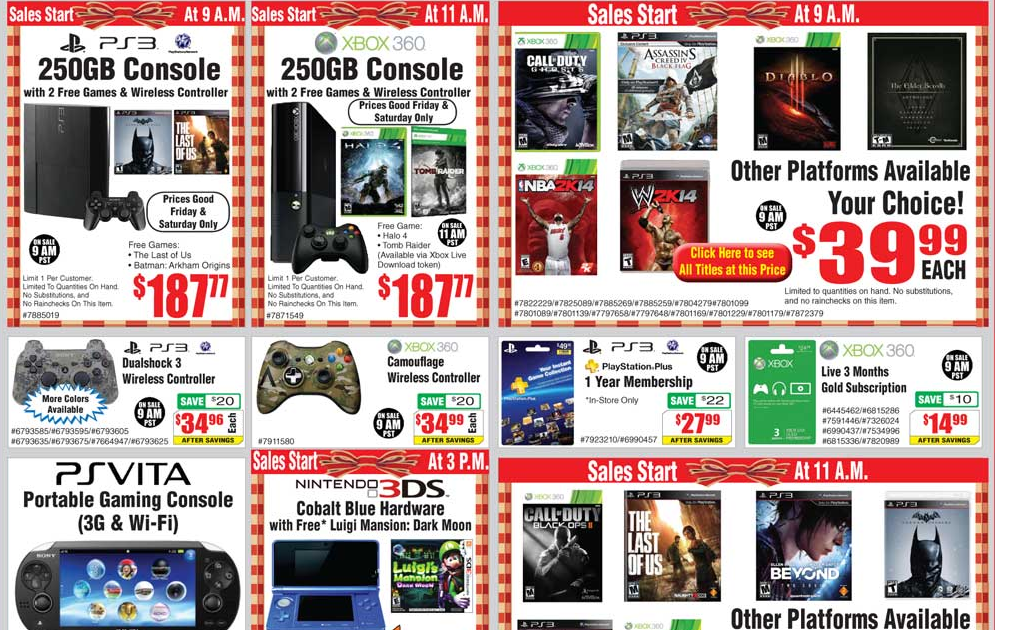 Fry's Black Friday deals cover PS Plus, Xbox Live, hardware and handhelds