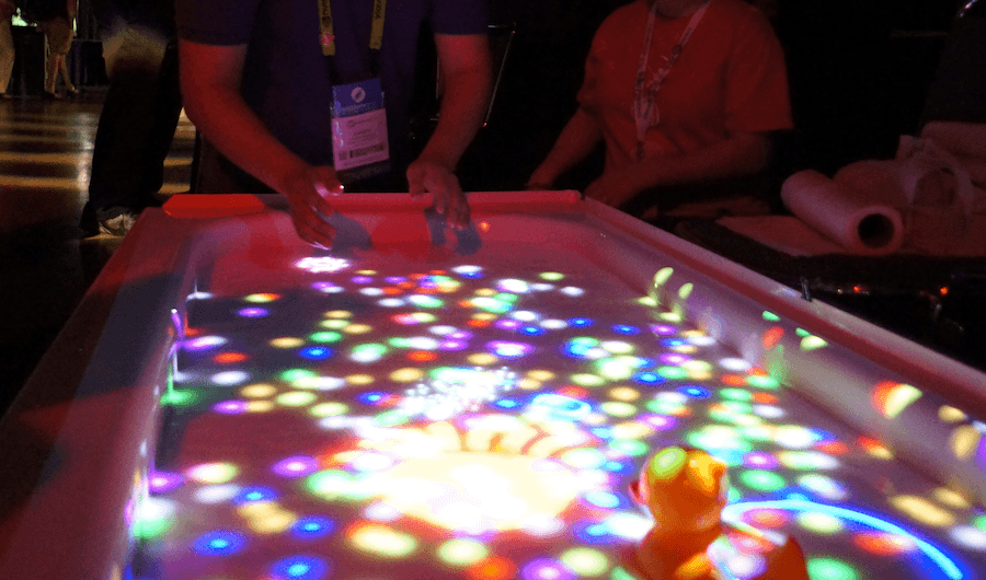 Microsoft's Kinect and a bath used to create an interactive game surface