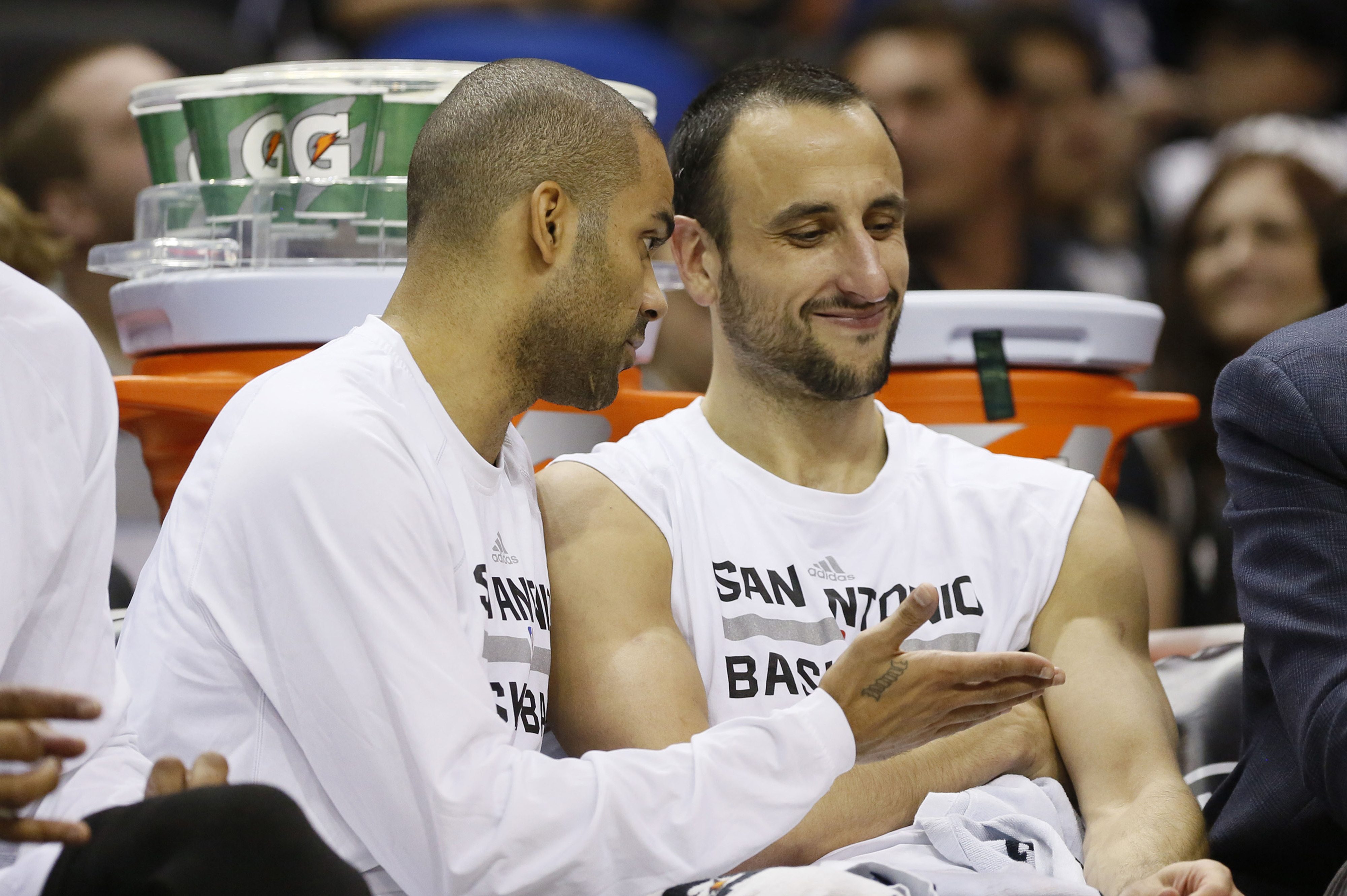 """See Manu, my kid starts at point guard, yours play the two, three and four..."""