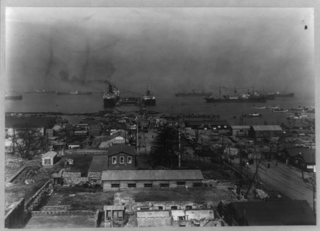 A Yokohama harbor scene from the early 1900s.