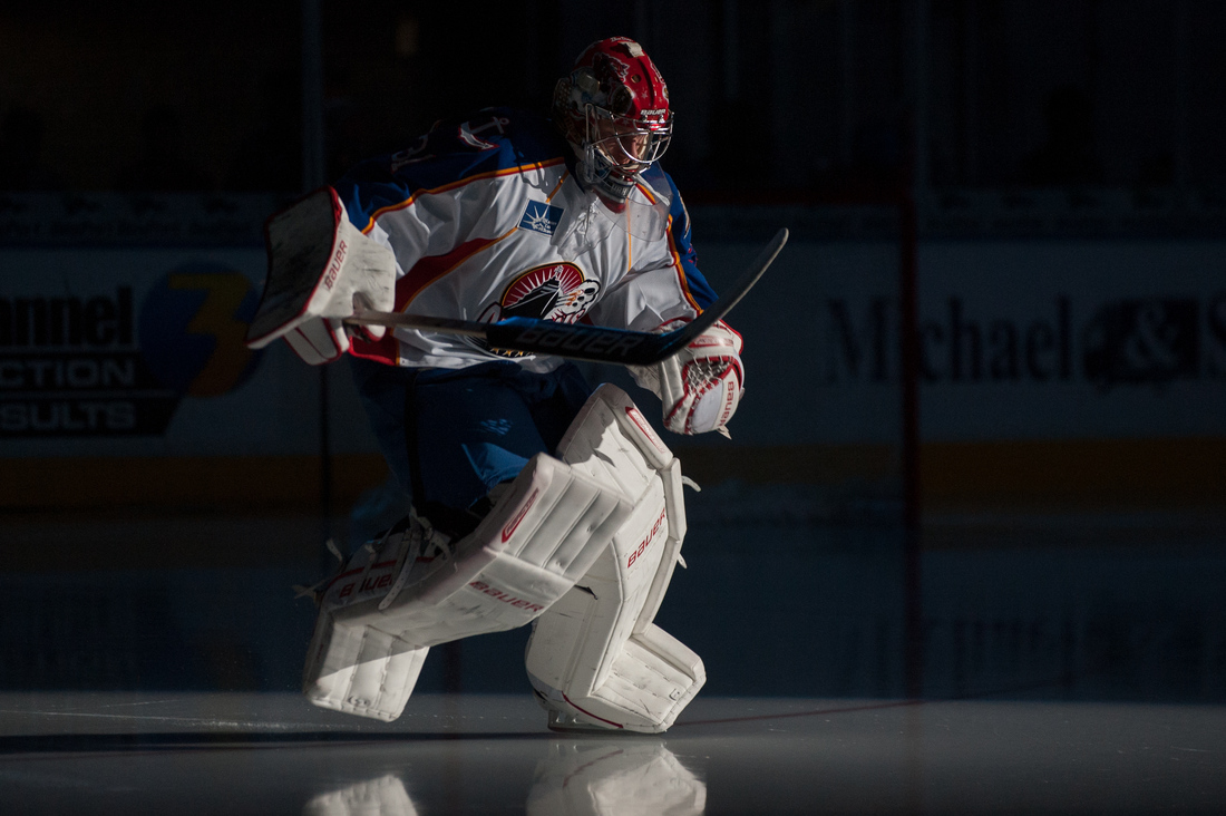Recently signed goalie Brad Thiessen makes his first entrance at Norfolk Scope