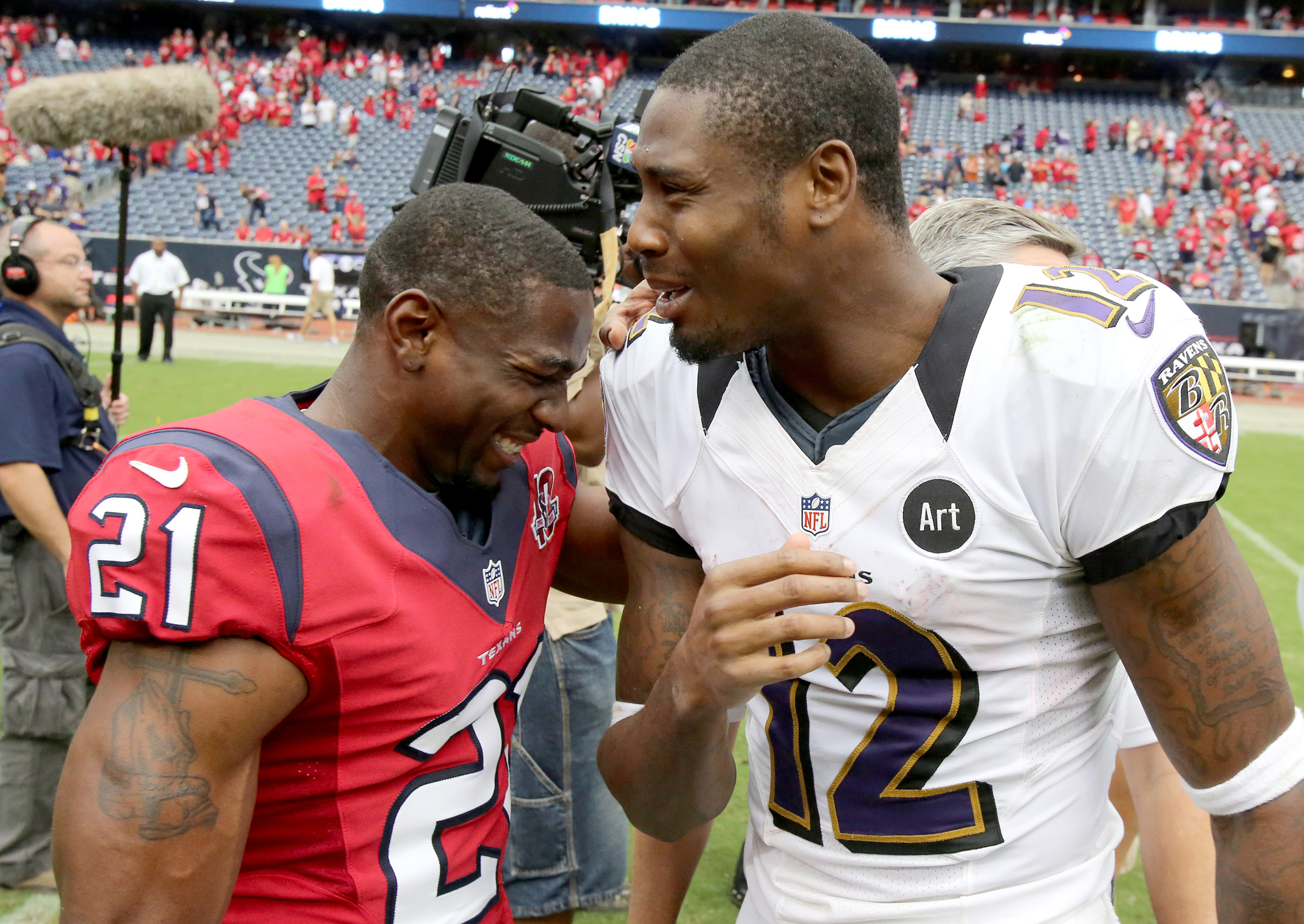 Brice McCain had no idea what Jacoby Jones was saying, so he thought of Buffalo Wild Wings instead to make him happy.
