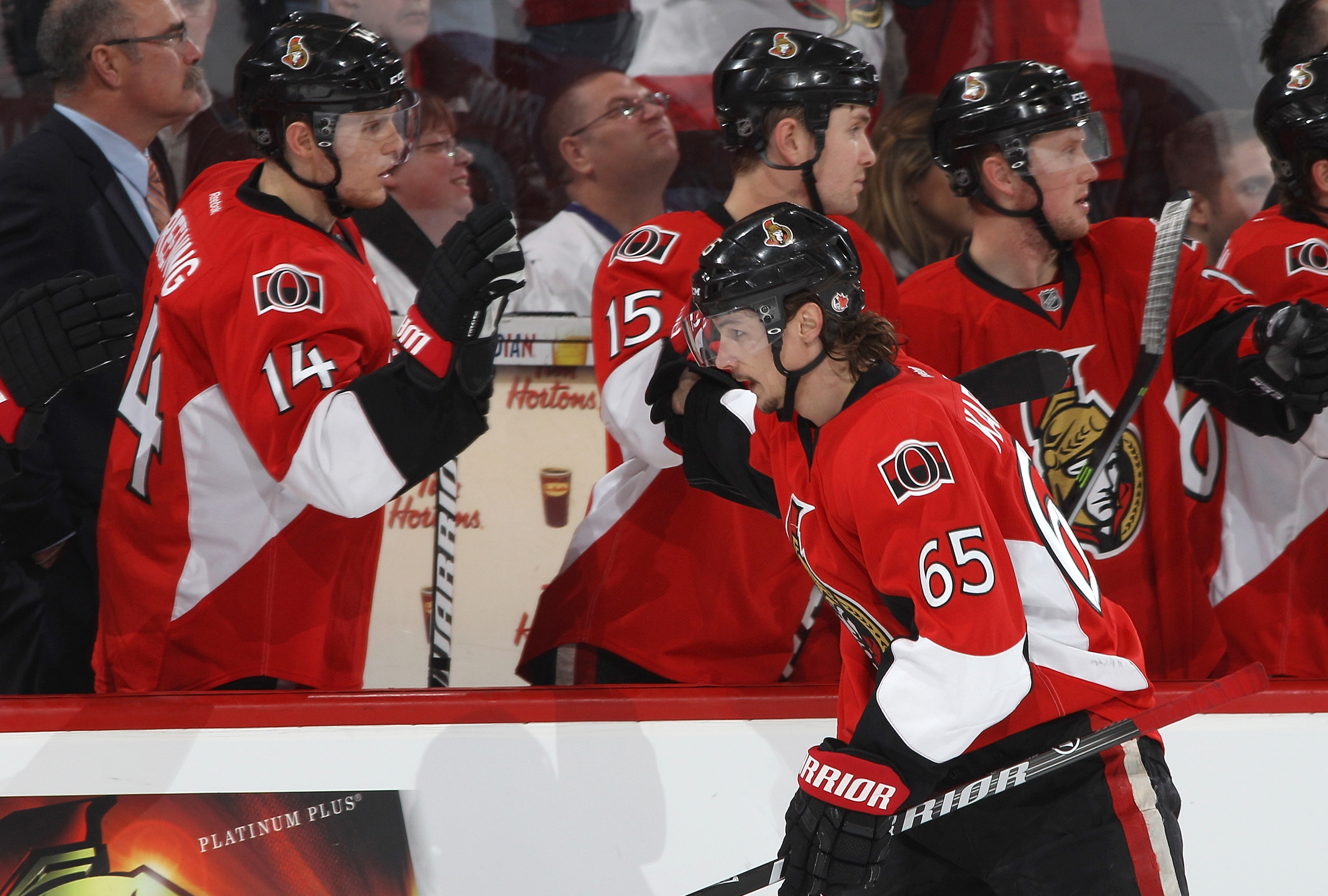 It's part of Erik Karlsson's contract that you can't look him in the eye.