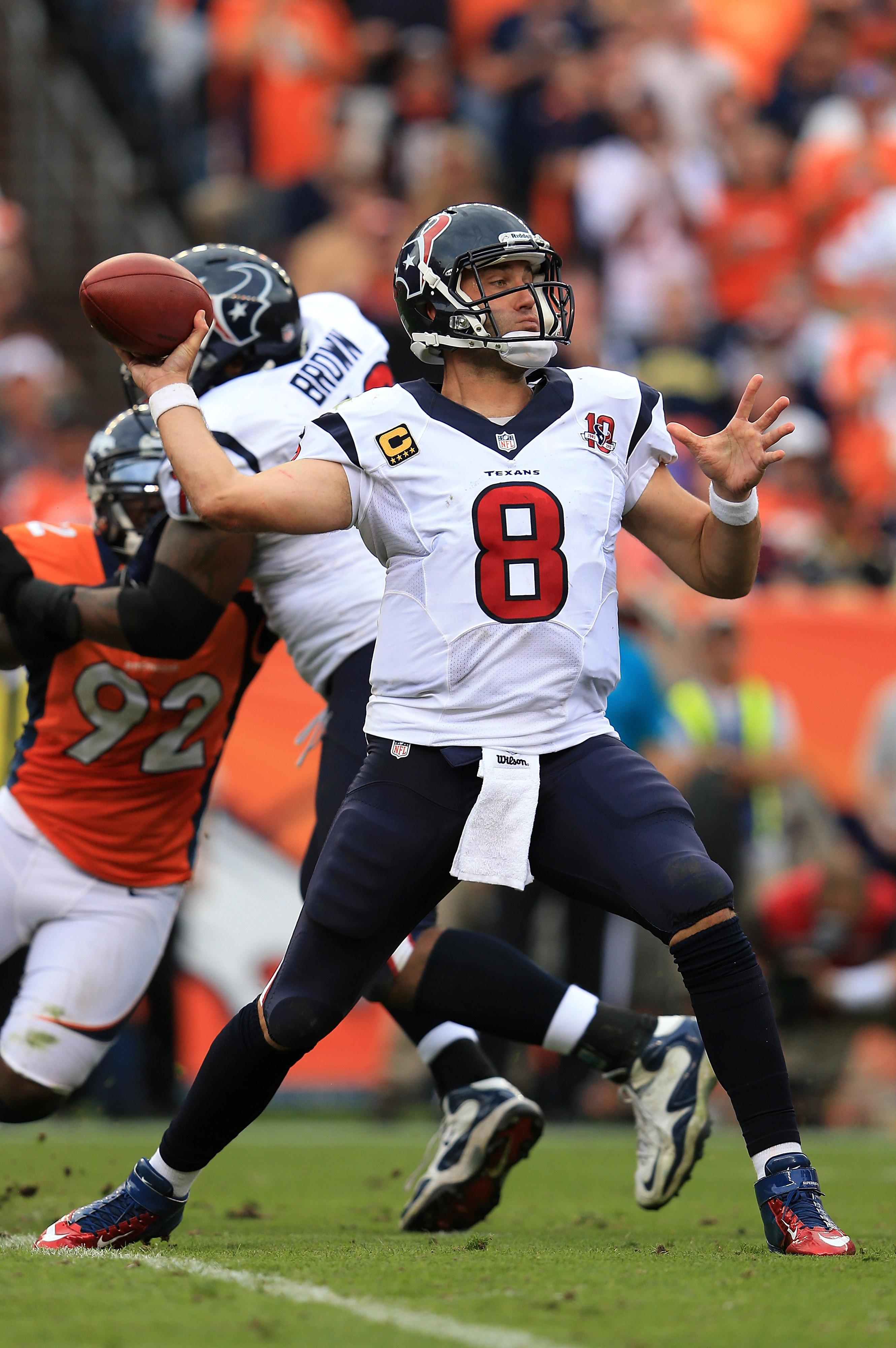 Wiley ol' gunslinger Matt Schaub returns to face the Denver Broncos in the last home game of the season.