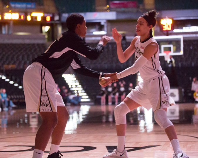 Dearica Hamby and Susie Webster pregame, before Hamby scored 31