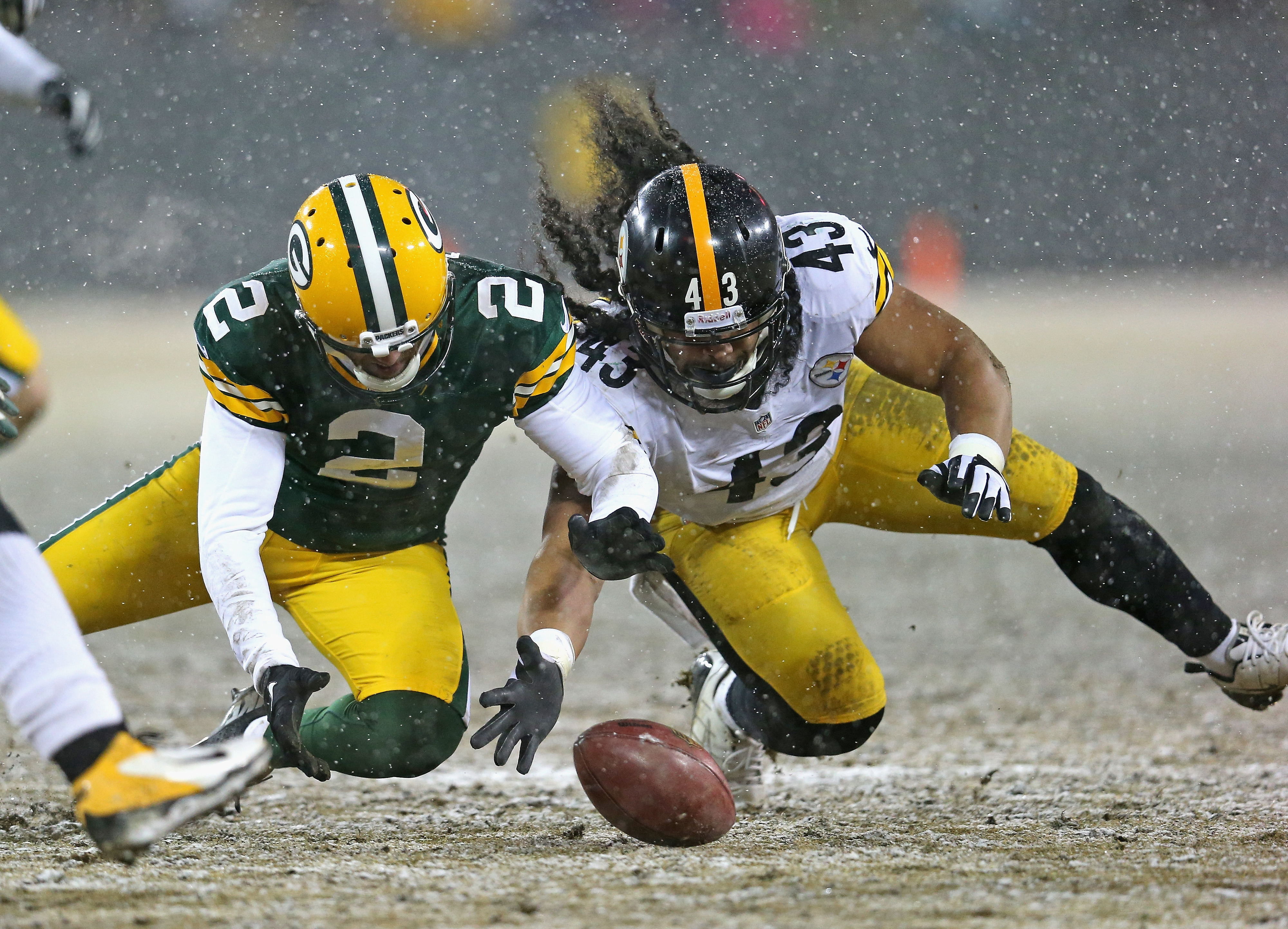 Troy Polamalu goes for a loose ball.