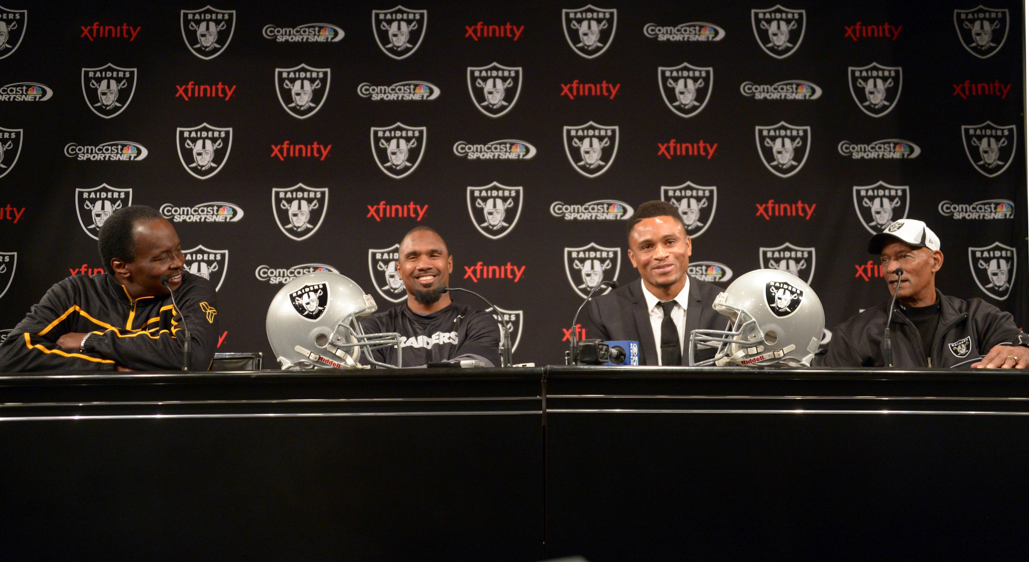 Left to right: Lester Hayes, Charles Woodson, Nnamdi Asomugha, Willie Brown