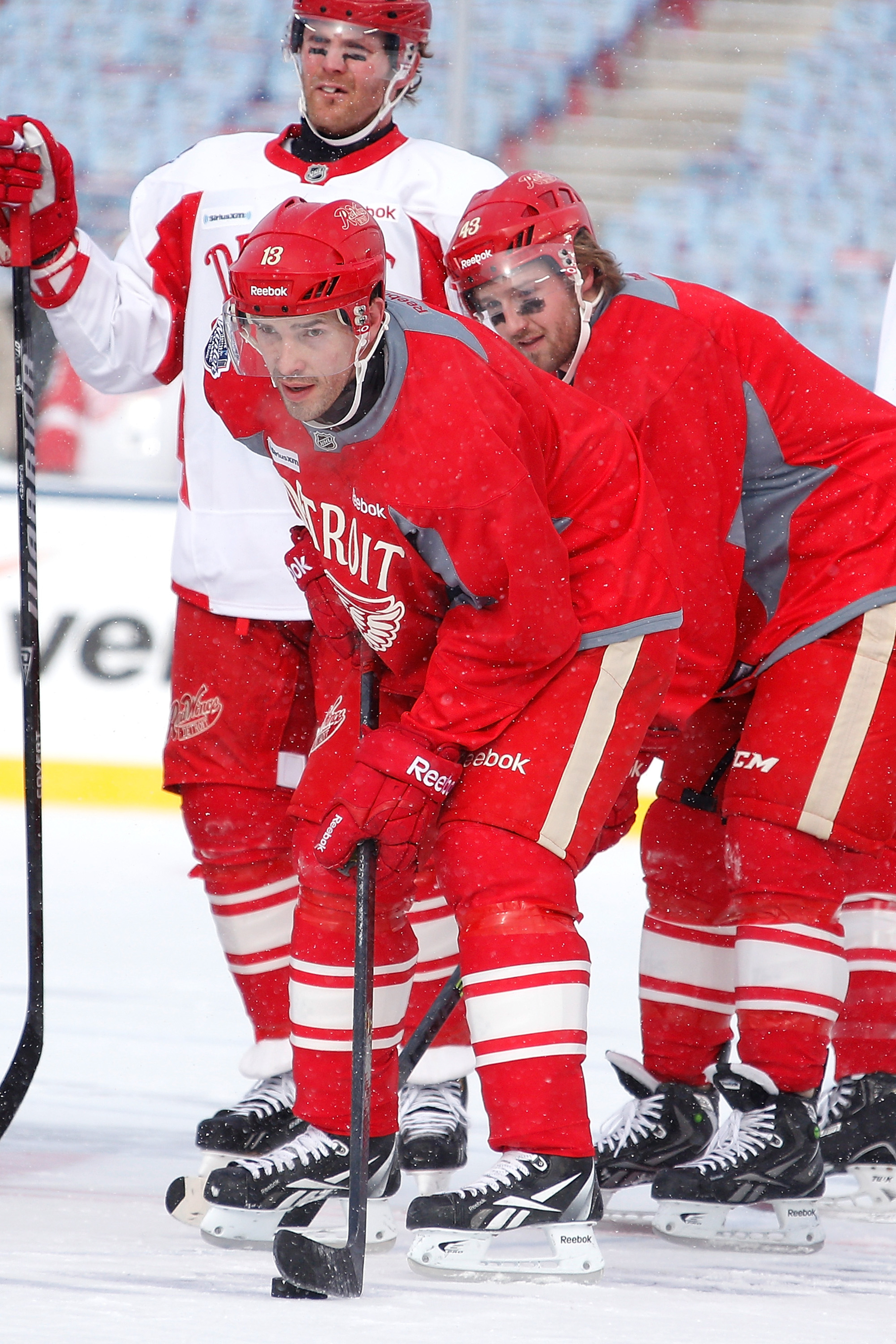 Pavel Datsyuk participates in the Red Wings' practice on New Year's Eve.