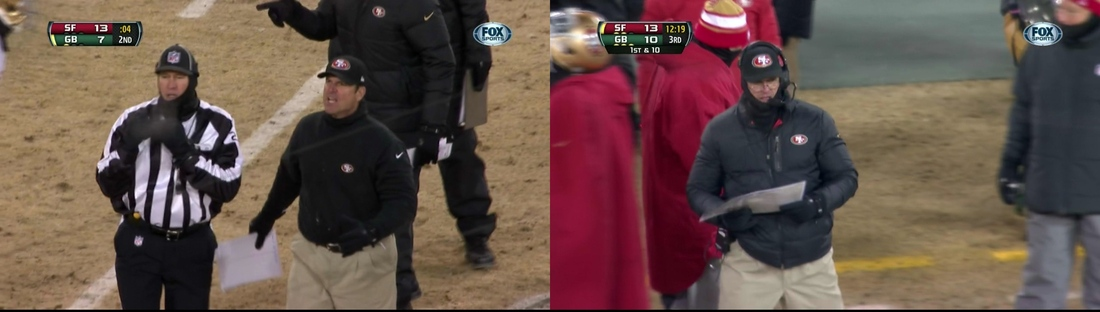 Jim Harbaugh used halftime to put on all the warm clothes