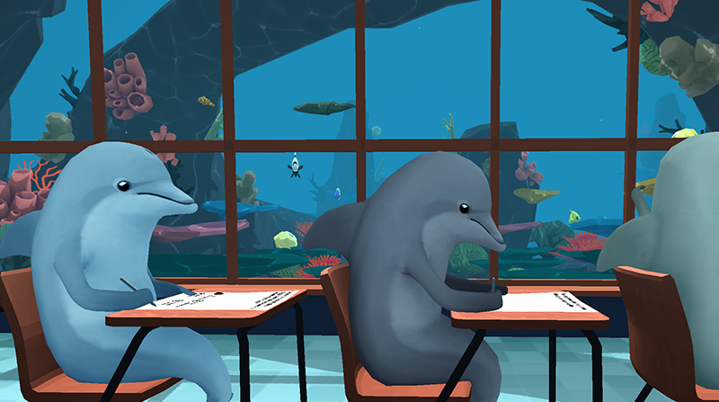 This virtual reality game about cheating dolphins in an undersea classroom shows 'real' next-gen play