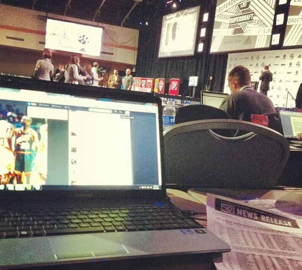 My desk area at the Super Draft