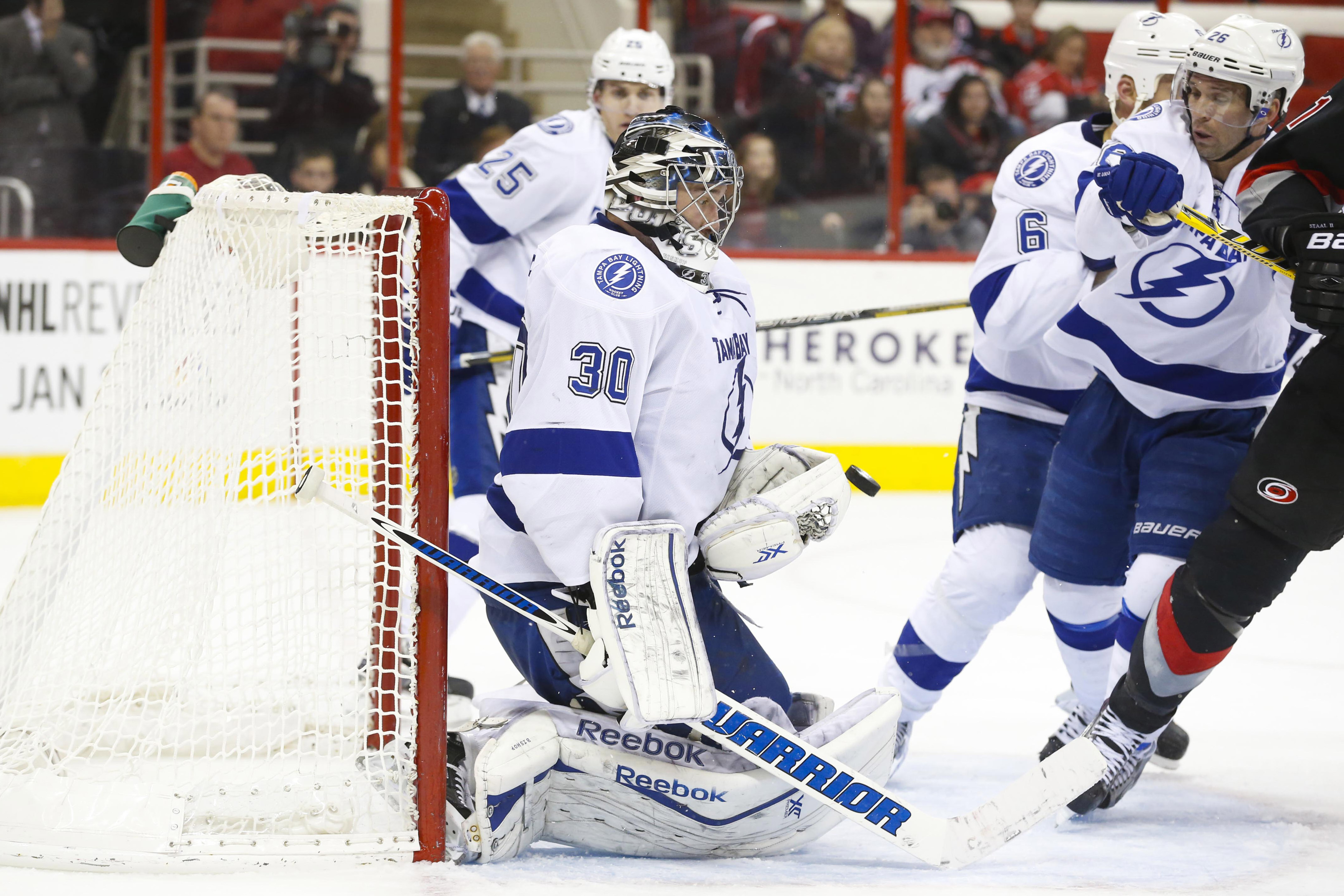 Bishop makes a save against Carolina. This repeated 47 more times.