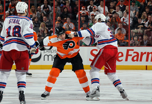 Aaron Voros, doing what he could only do in the NHL effectively.
