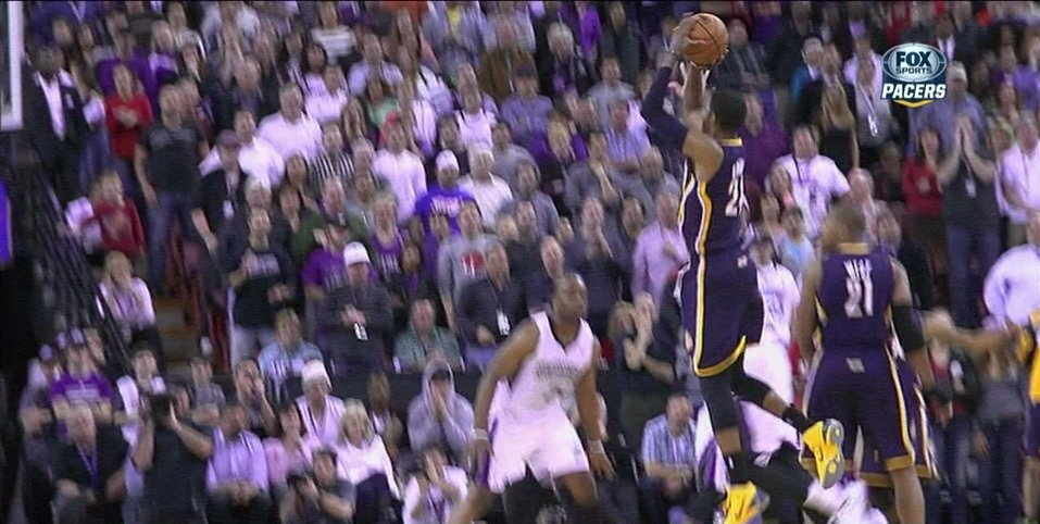 Paul George hits desperation three with the foul to send game to overtime
