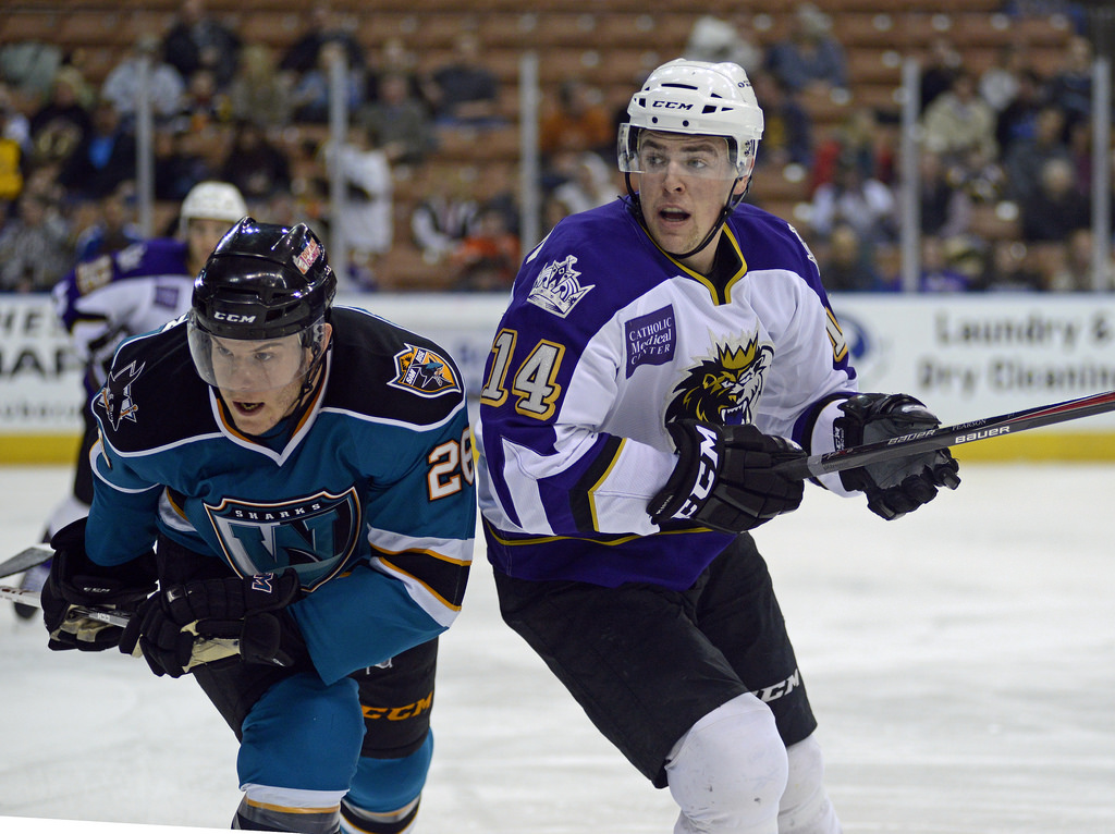Tanner Pearson in a regular Monarchs uniform. Not an awesome Burger King one.