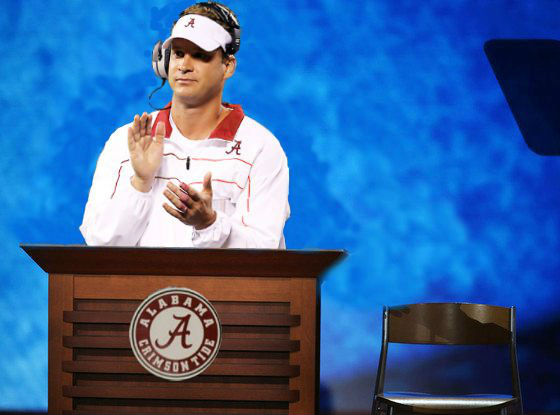 The esteemed Mr. Kiffin addresses his audience.