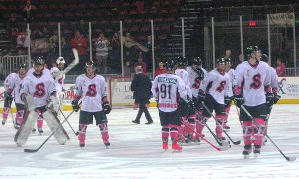 The Sundogs wore specialty jerseys for Pink in the Rink on Saturday