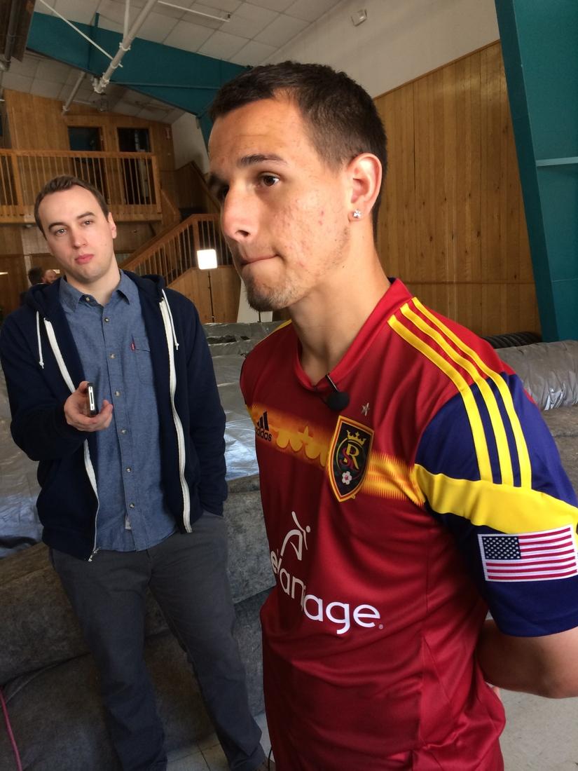 Luis Gil wearing Real Salt Lake's 2014 home kit.