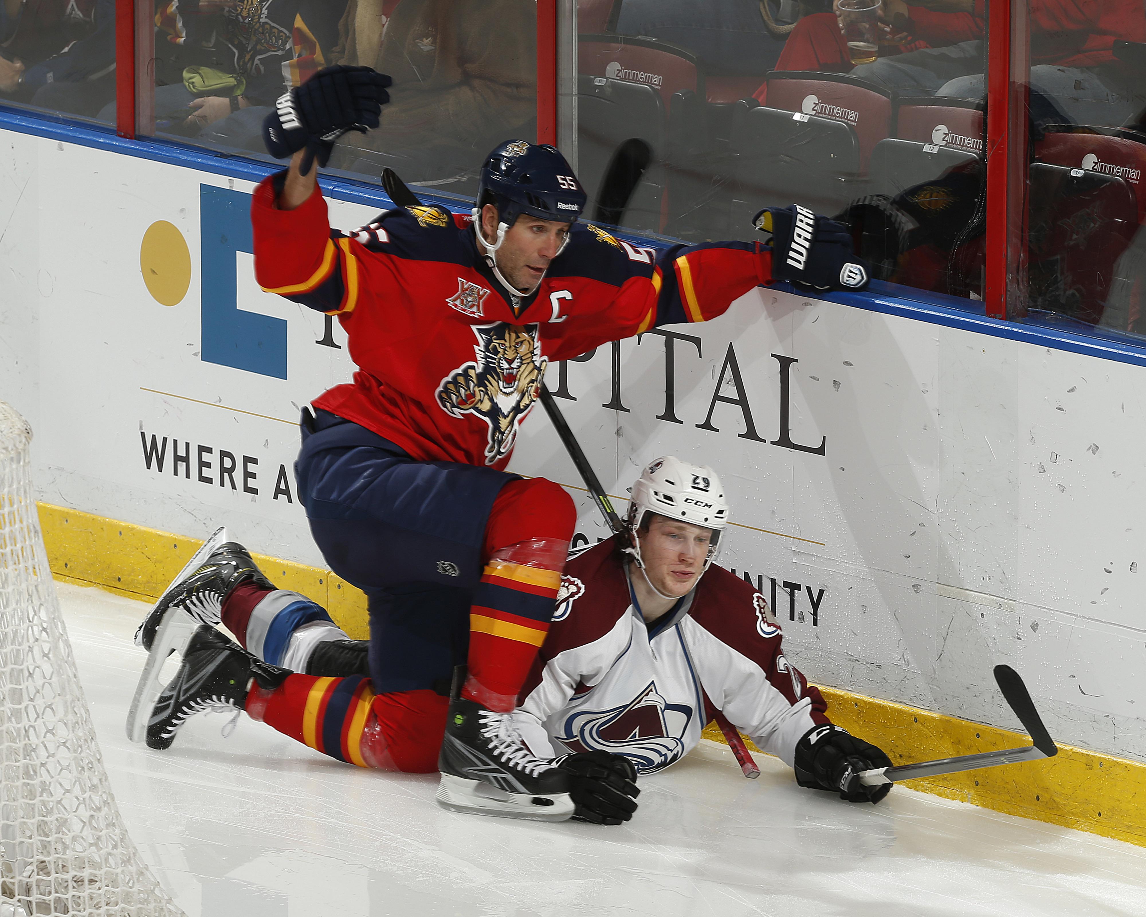 """Jovanovski: """"Where's my stick?!"""" MacKinnon: """"Here, take mine!"""""""