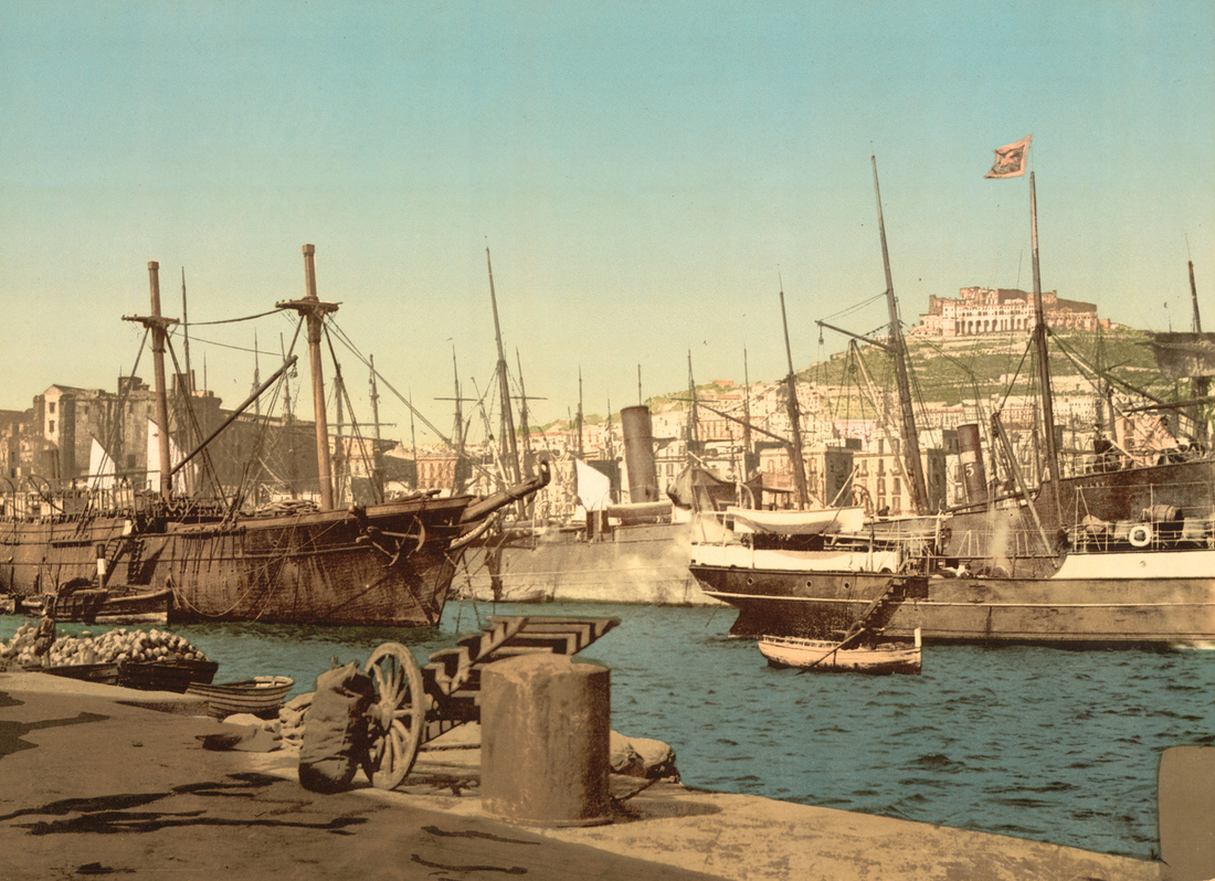 Photomechanical print of the harbor in Naples around 1900