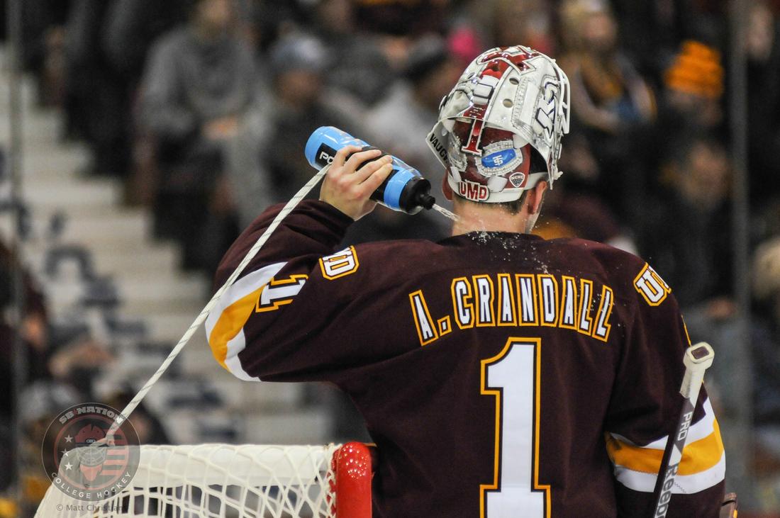 Minnesota-Duluth goaltender Aaron Crandall cooling off like Bernie