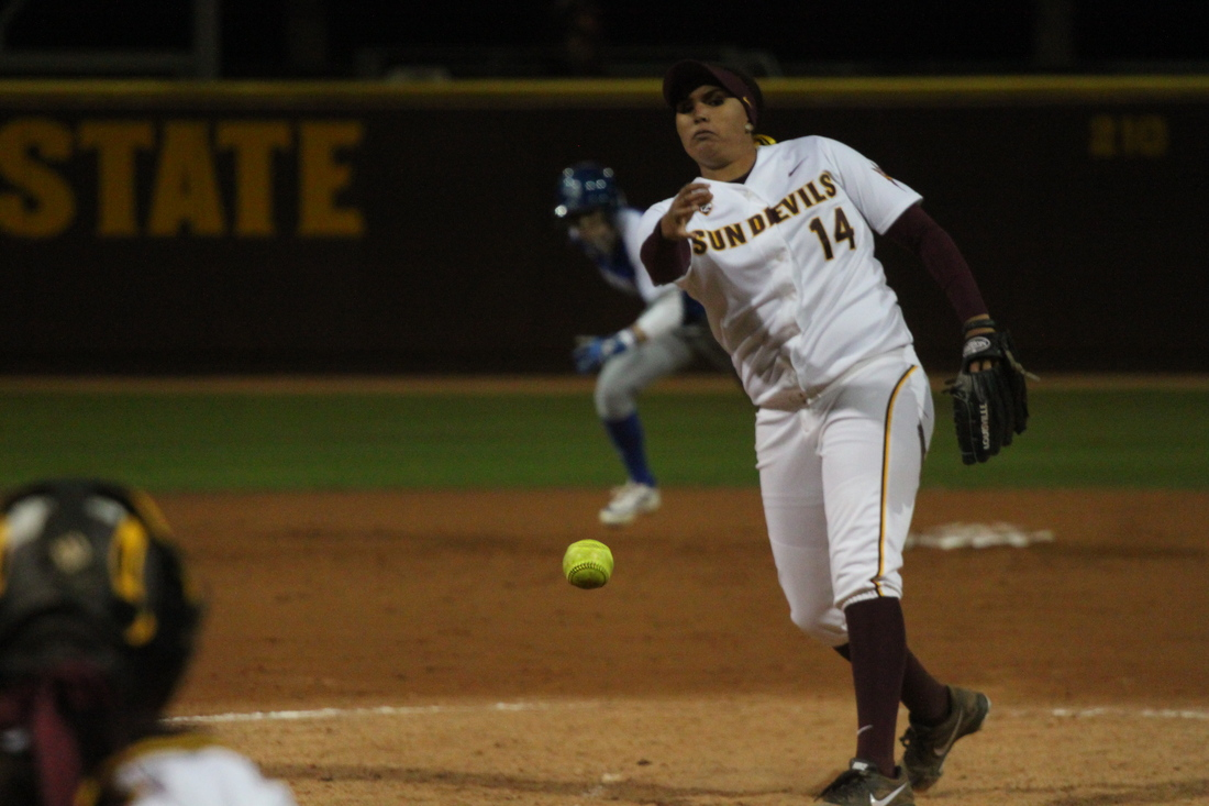 Alexis Cooper pitched in two games for the Sun Devils this weekend.
