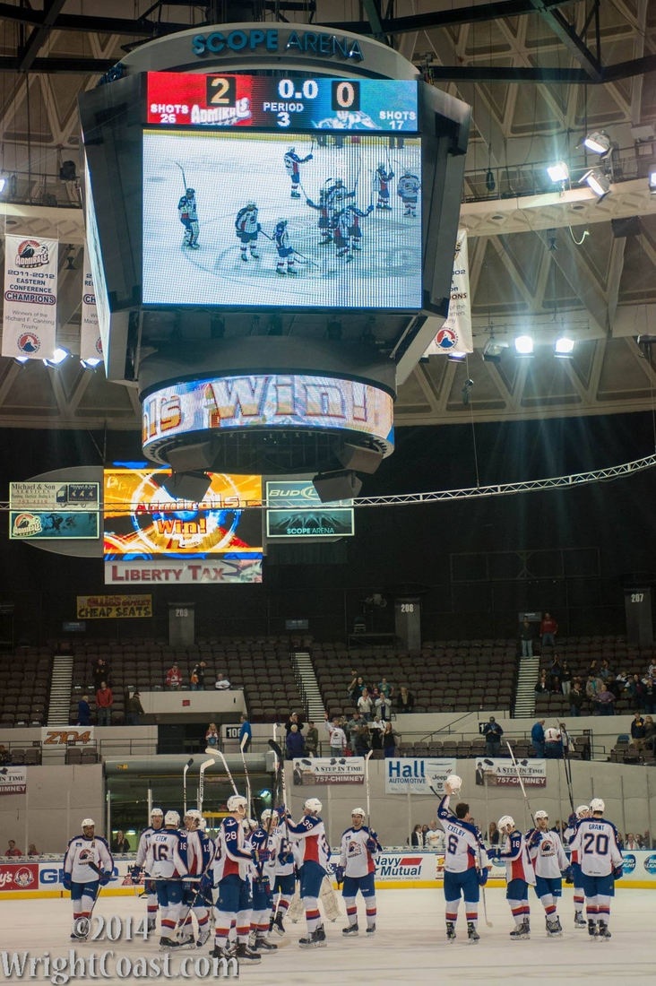 Norfolk Admirals Salute the Crowd at Scope Arena in Norfolk 2013-2014