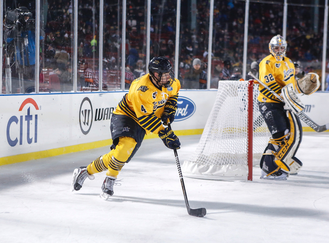 Merrimack senior defenseman and three-year captain Jordan Heywood (left) will be facing Maine in the playoffs for the third time in four years.