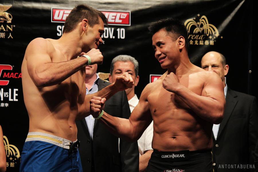 Rich Franklin and Cung Le square off at the UFC Macao weigh-ins