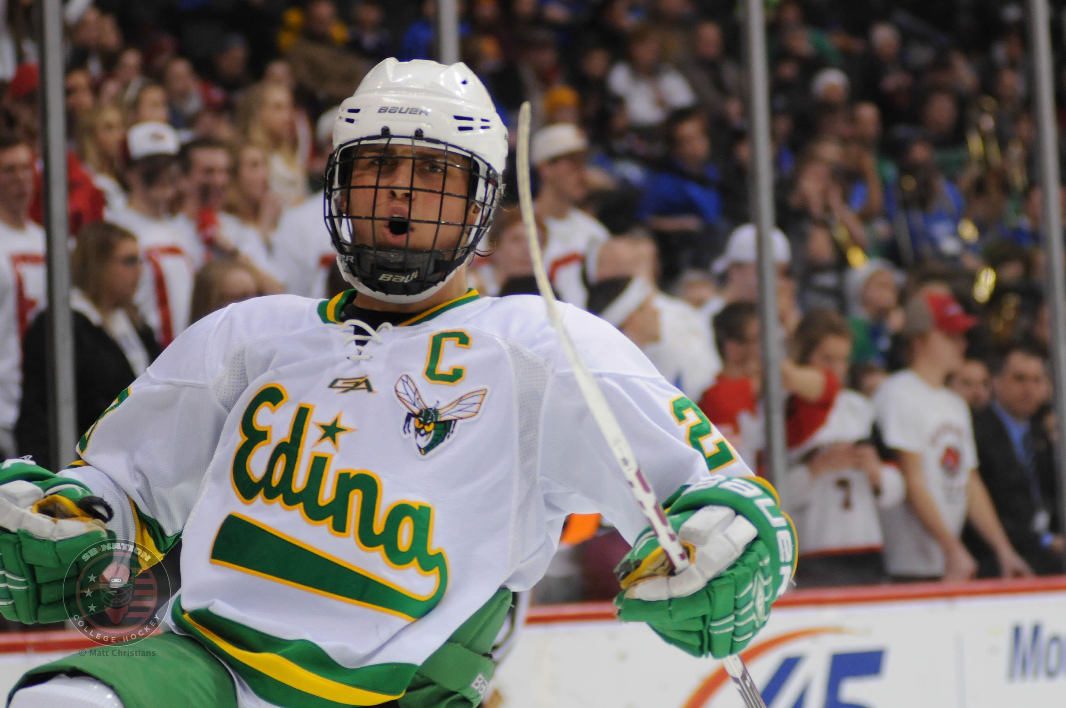 Ohio State commit Tyler Nanne scored four times in Edina's 6-1 rout of Stillwater.