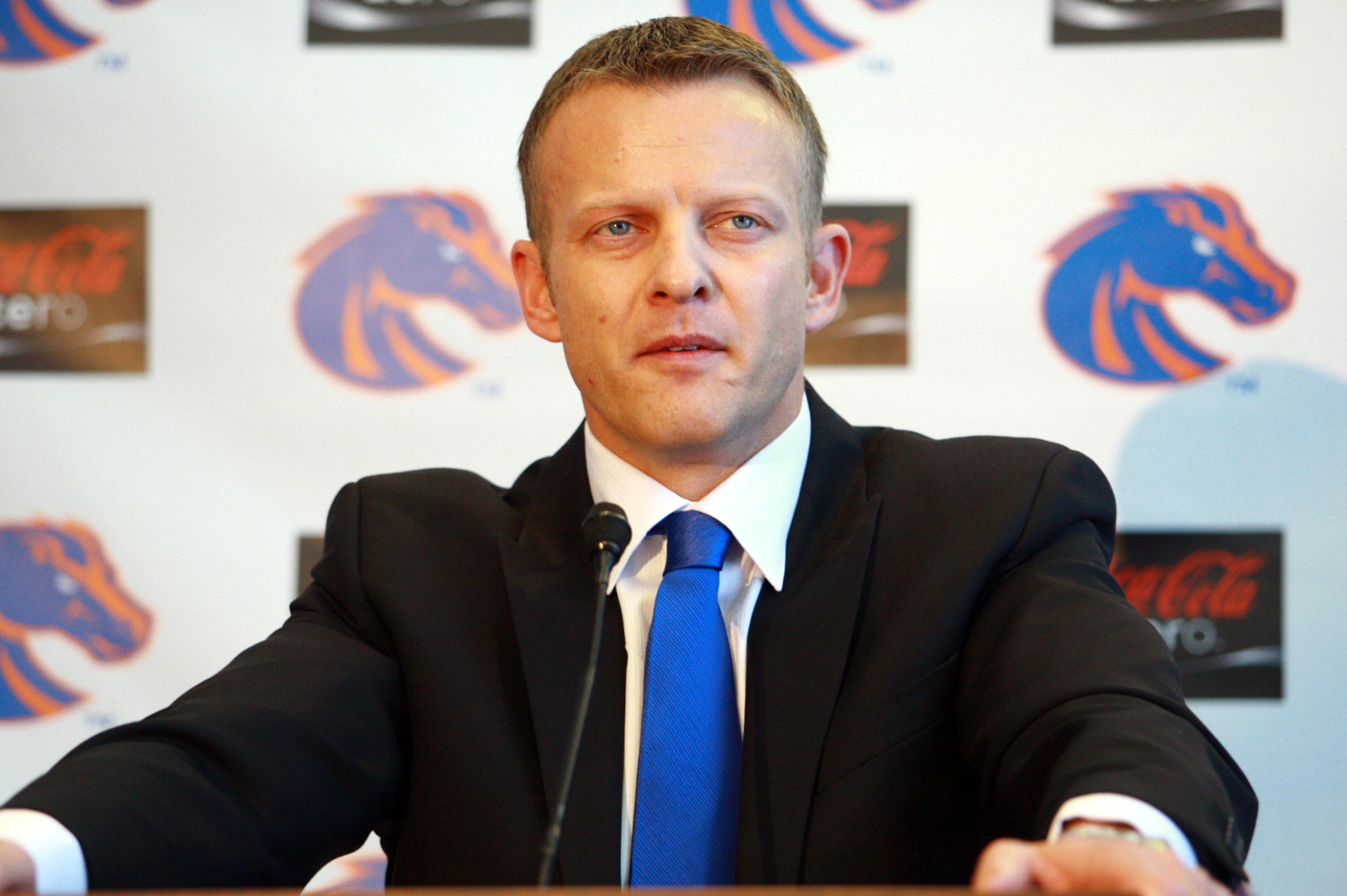 Dec 13, 2013; Boise, ID, USA; Boise State Broncos head new football coach Bryan Harsin addresses the media and boosters at Bronco Hall of Fame.