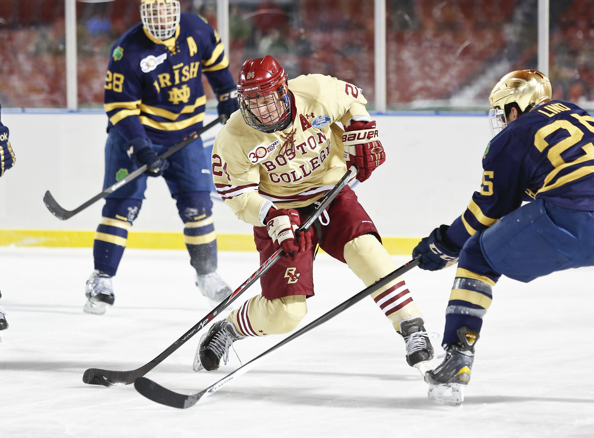 Boston College senior Bill Arnold fires a shot against Notre Dame in the first matchup between the two schools this season.