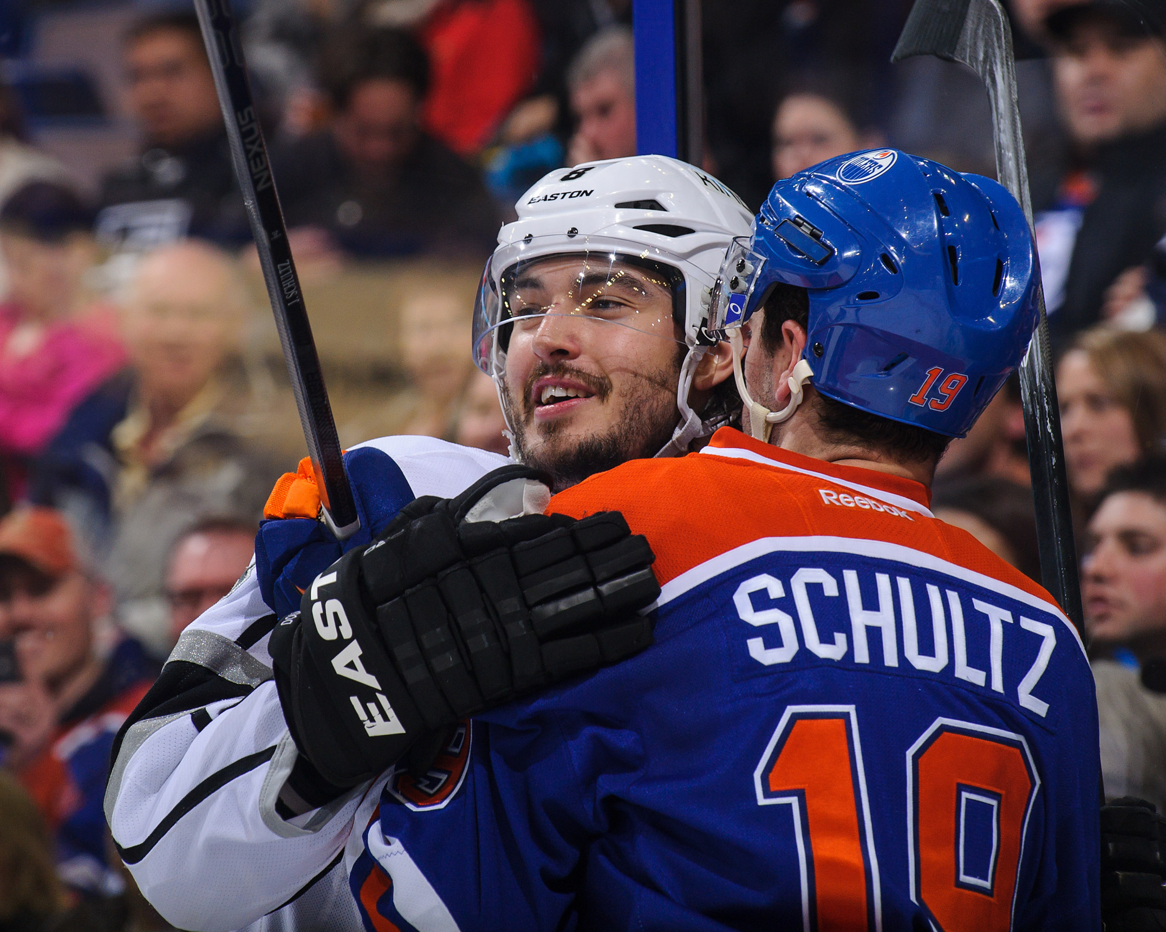 Drew Doughty, being the loving and caring soul that he is, attempts to make Justin Schultz feel better about being on the Oilers with a nice hug. Awwww.