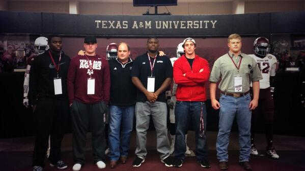 Trevor Elbert at Texas A&M (second from left)