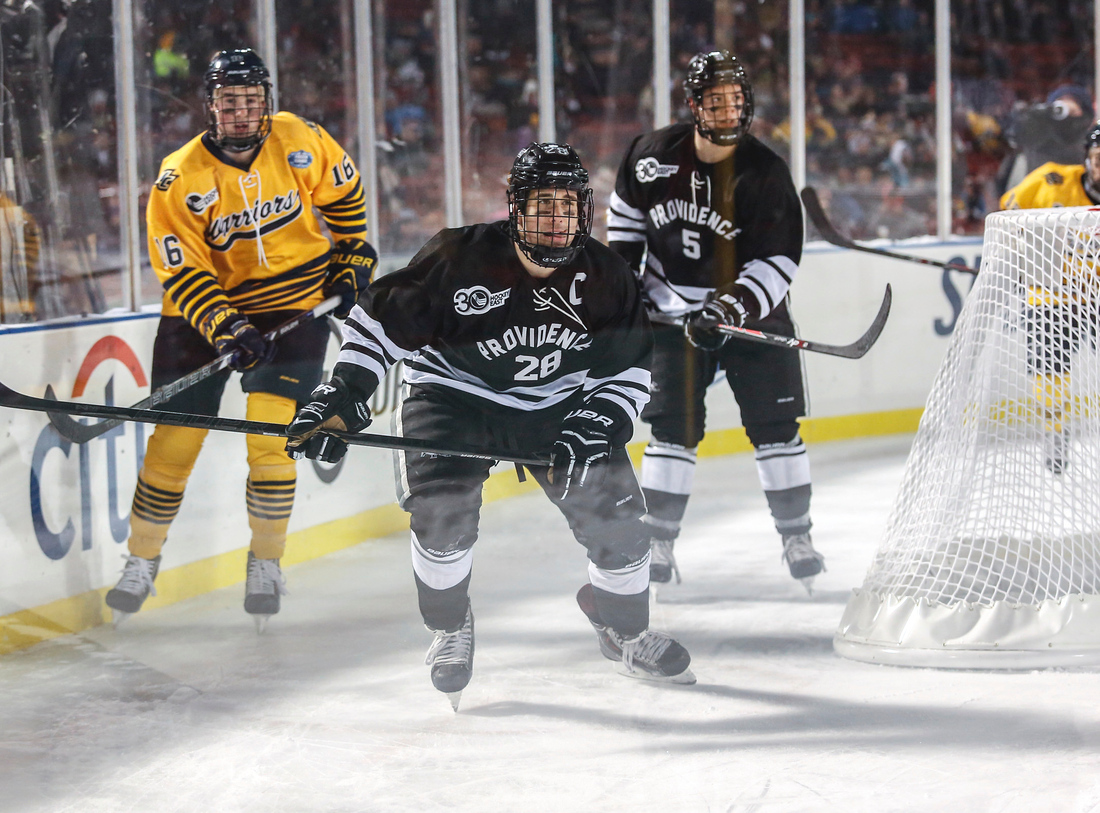 Providence senior captain Steven Shamanski, center, has been a defensive leader for the Friars all season.