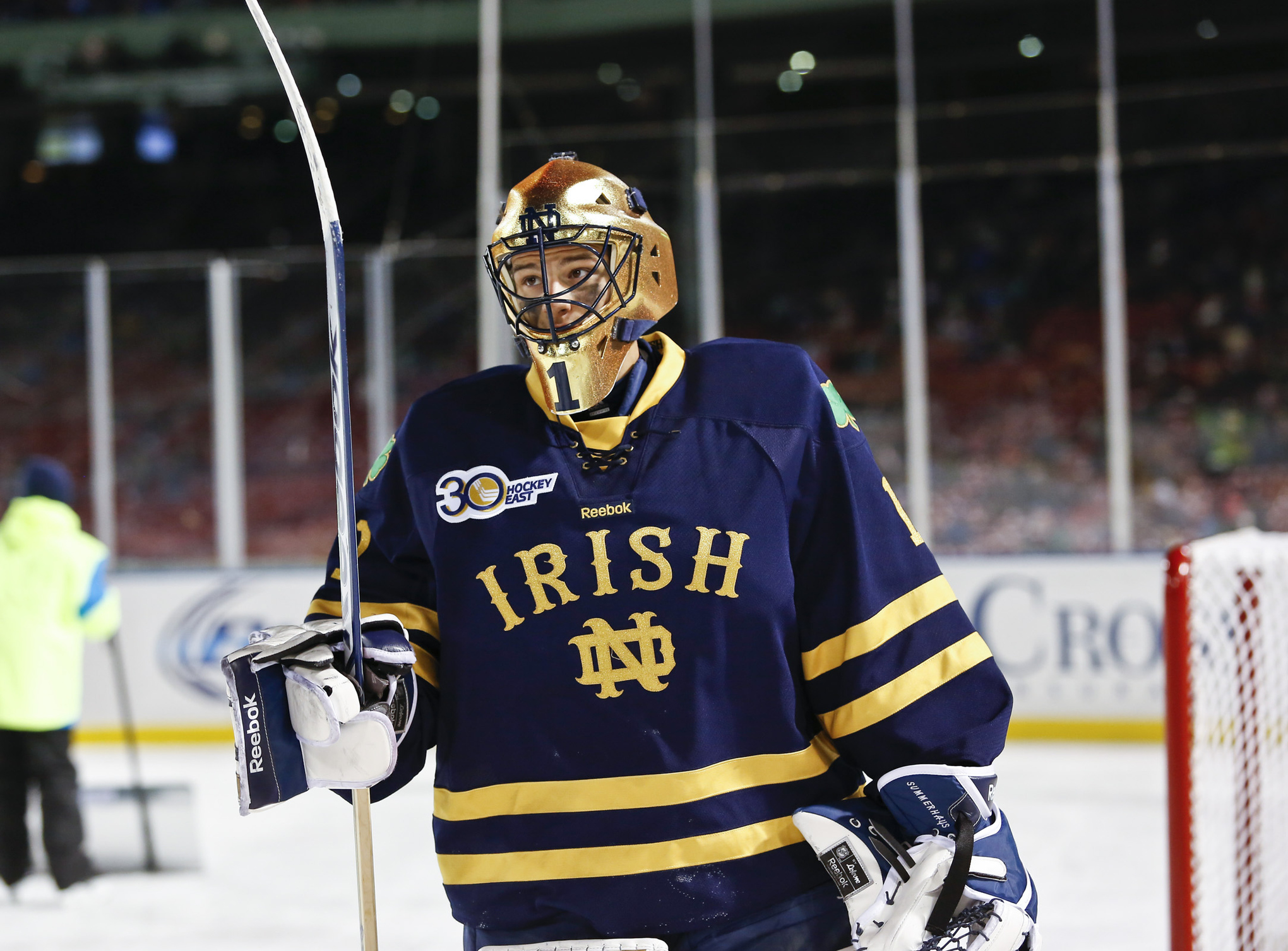 Notre Dame goaltender Steven Summerhays and his team will face UMass Lowell in the first Hockey East semifinal.