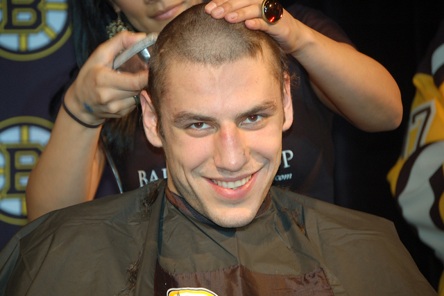 Milan Lucic will eat your soul, hair or no hair.