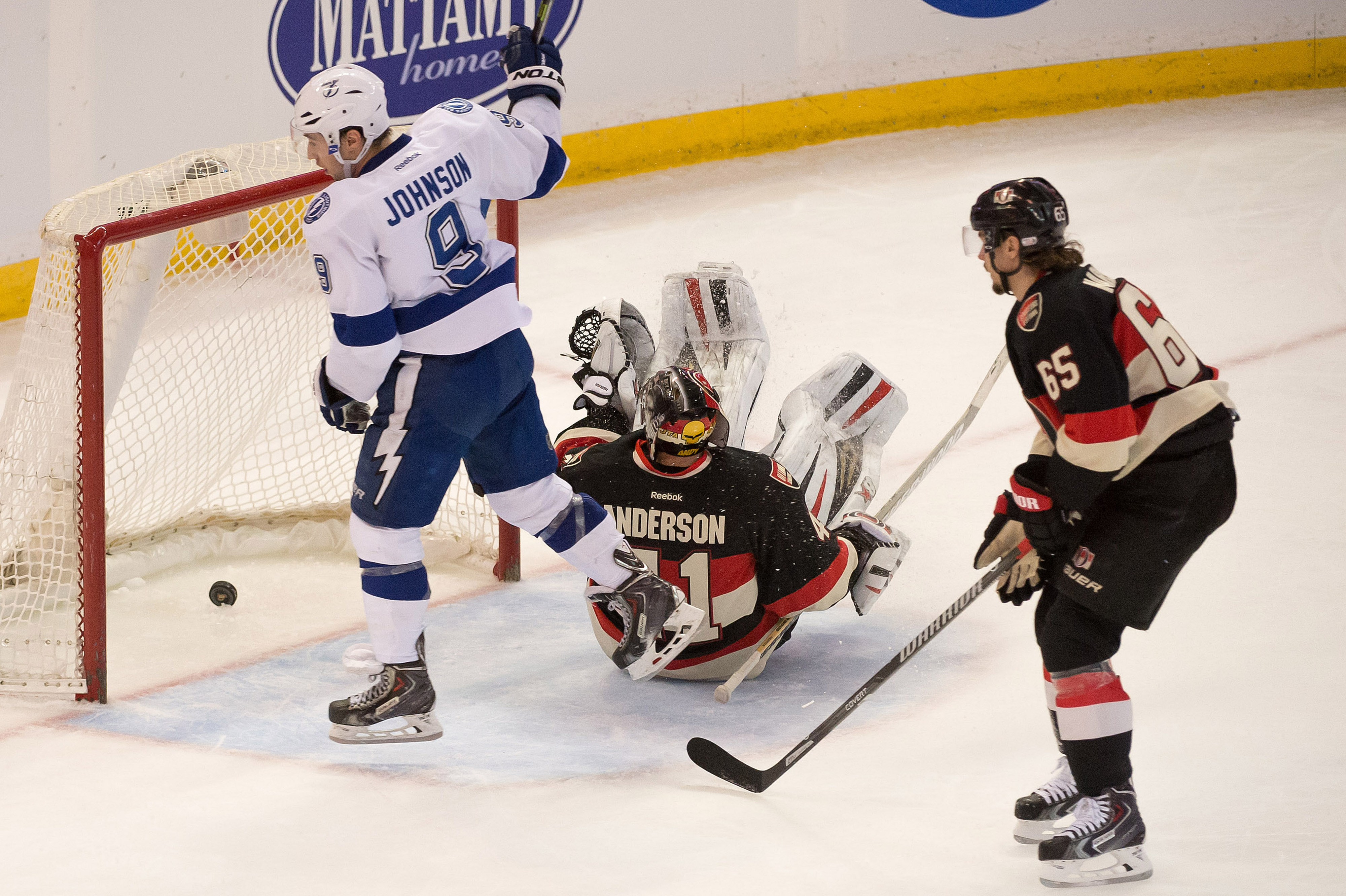 Craig Anderson's attempt at break dance goaltending goes horrible wrong during Tampa's last visit to Ottawa