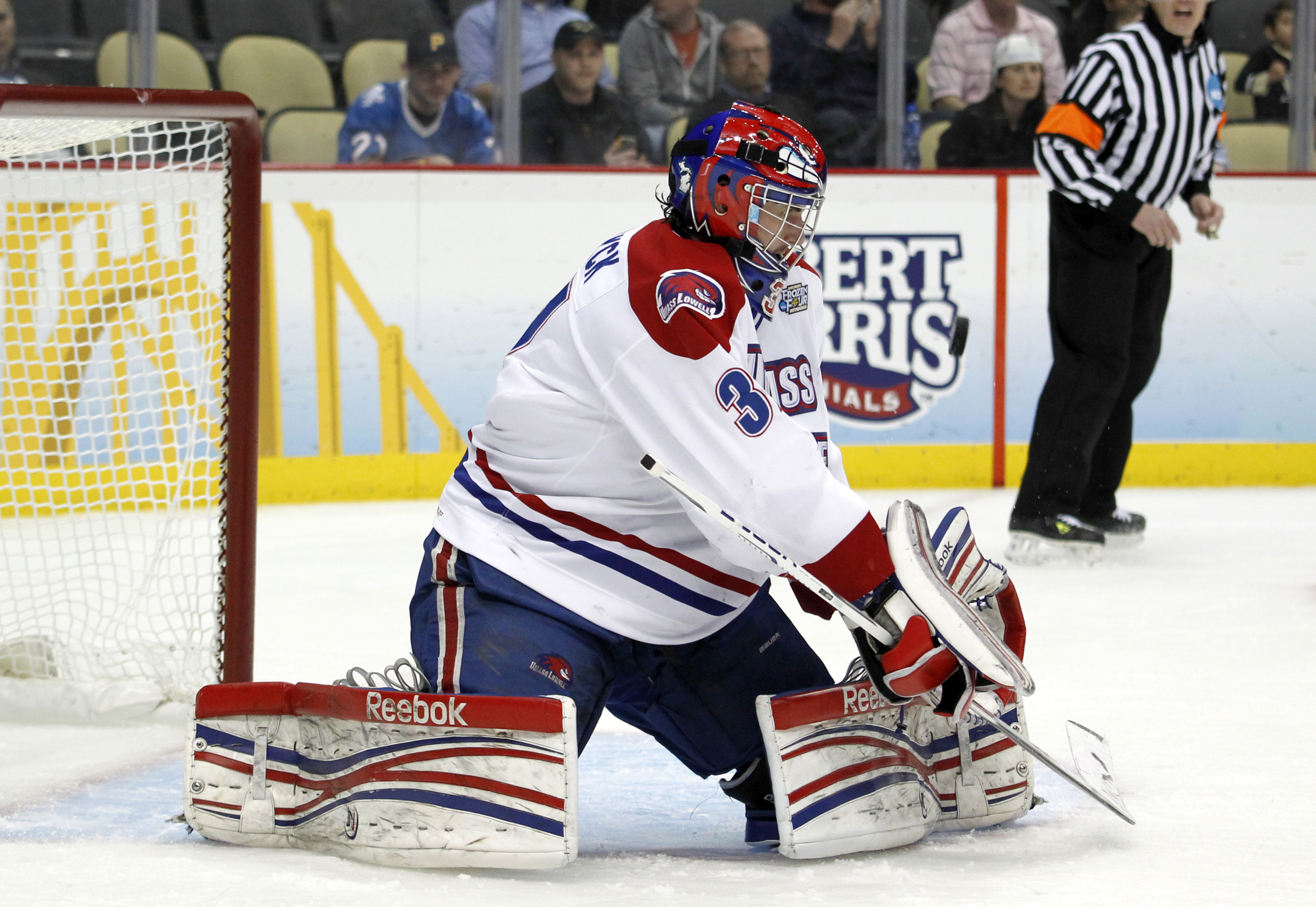 UMass Lowell sophomore goaltender Connor Hellebuyck was named a  Hockey East First Team All-Star.