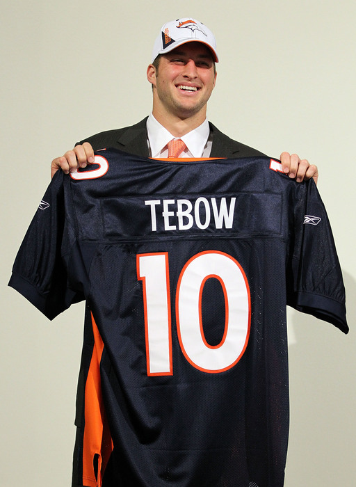 Tim Tebow was taken 25th overall in the 2010 draft by the Broncos.