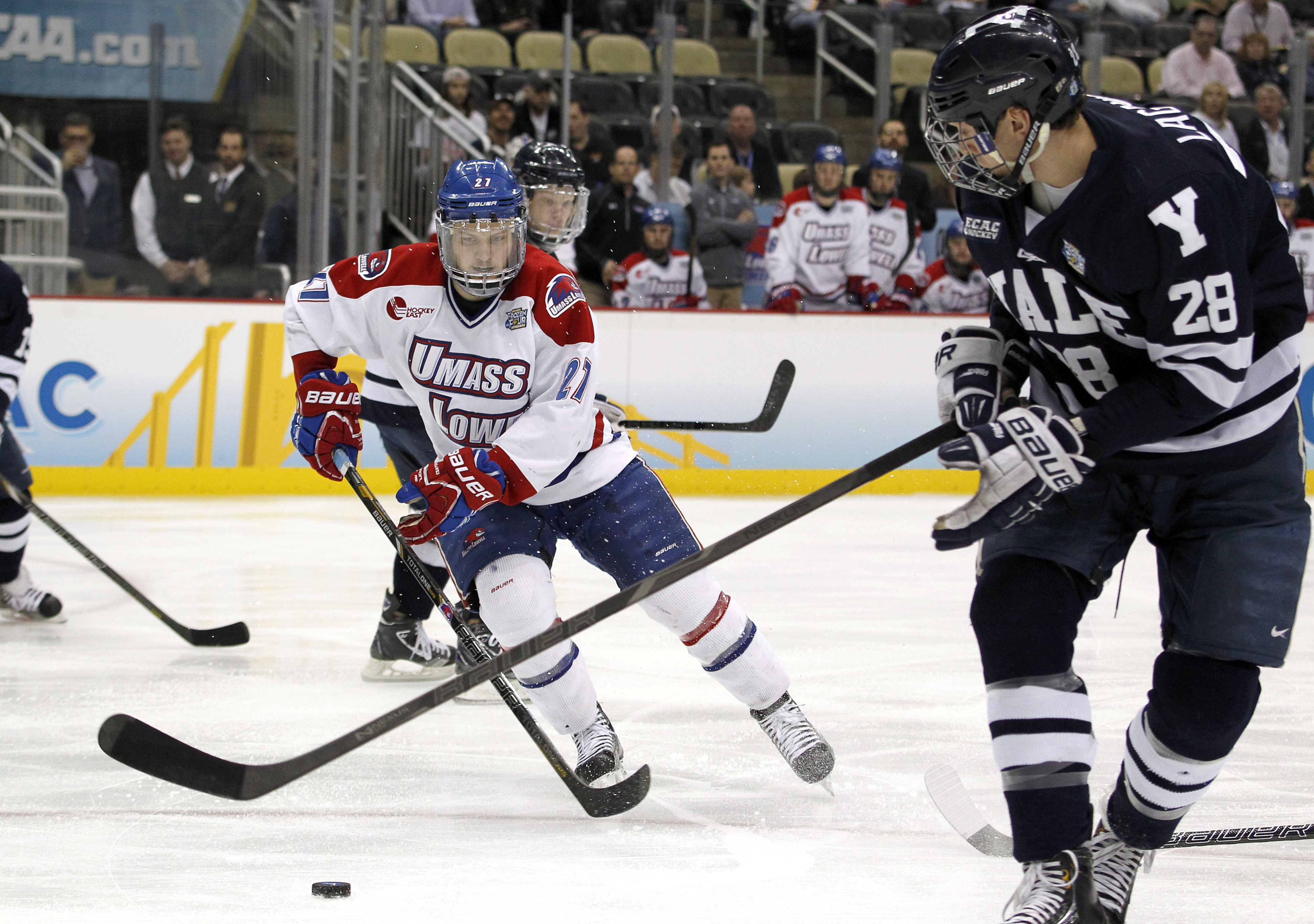 UMass Lowell defenseman Zack Kamrass had a goal and an assist in Friday's semifinal victory over Notre Dame.