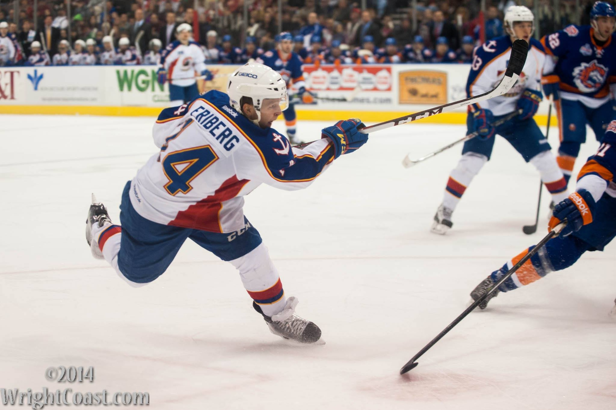 Max Friberg Takes a shot on goal at Scope 2013-2014 Norfolk Admirals