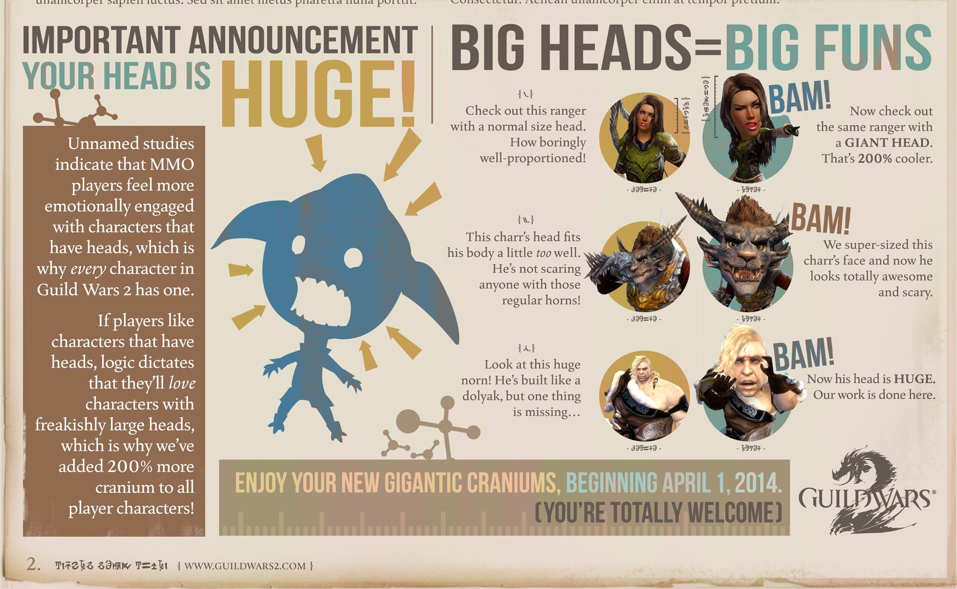 April Fools' brings big, bobblin' noggins to Guild Wars 2